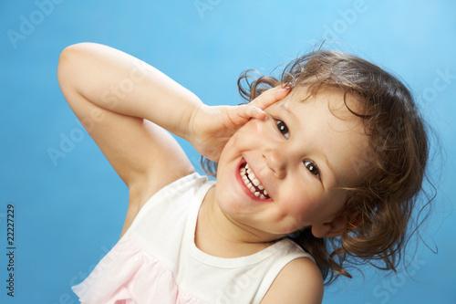 Valokuva  Portrait of funny lovely little girl