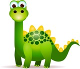 Fototapeta Dino - Cute green dinosaurs cartoon