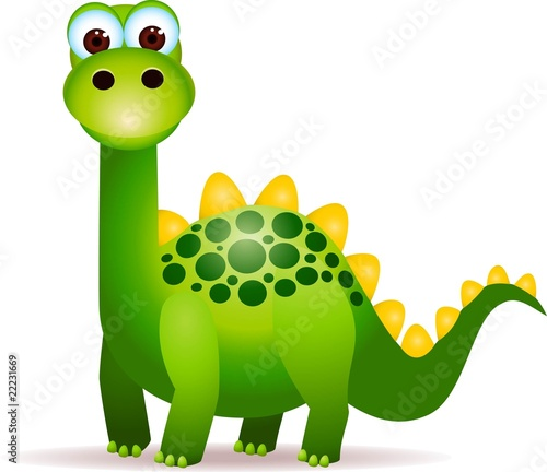 Tuinposter Dinosaurs Cute green dinosaurs cartoon
