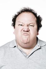 Homme Obèse Grimace De Rage