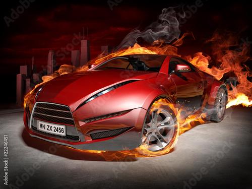 Plakaty motoryzacja   czerwony-samochod-w-plomieniach