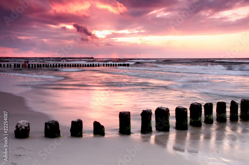 Poster Light pink Calmness.Beautiful sunset at Baltic sea.