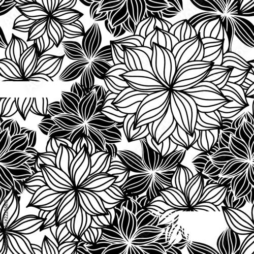 Staande foto Bloemen zwart wit Doodle Floral Seamless Pattern