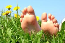 Füße Auf Einer Blumenwiese