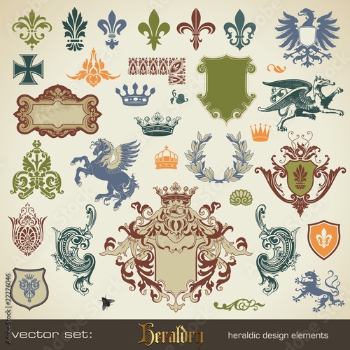Plagát  vector set: heraldry - large variety of design elements