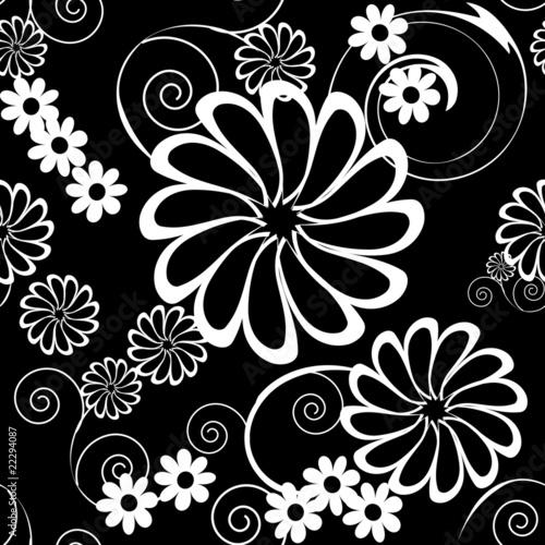 Staande foto Bloemen zwart wit vector seamless pattern