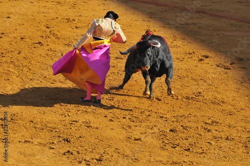 Corrida Torero et taureau, avec la cape tournoyant