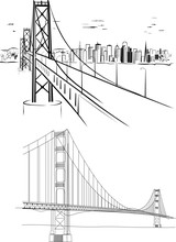 Golden Gate Bridge - Hand Drawing Illustrations