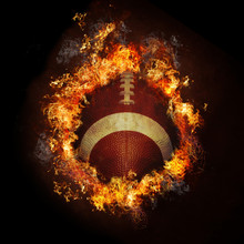 Football In Hot Fire Flames