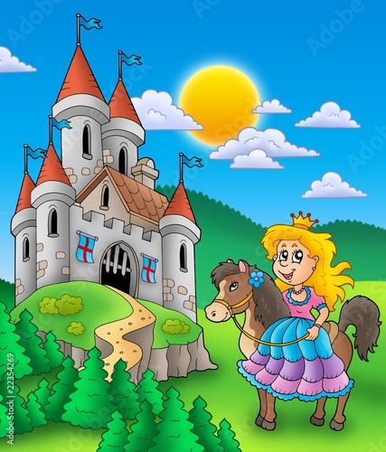Poster Pony Princess on horse with castle