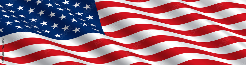 Fototapety, obrazy: American Flag Flowing in the Wind