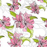 seamless wallpaper with pink lily flowers