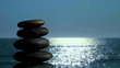 Zen rocks against ocean background soft focus - HD
