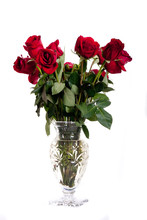 Cut Glas Vase Of Red Roses On ...