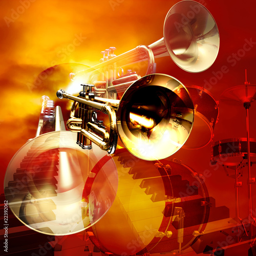 abstract jazz rock background musical instruments Poster