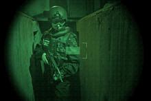 View Through Night Vision Googles- S.W.A.T. Operator- Crosshair
