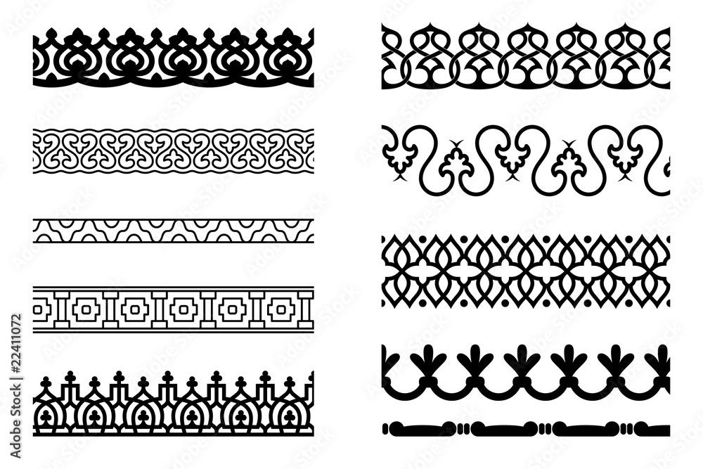 Fototapety, obrazy: Set of pattern brushes for border decoration
