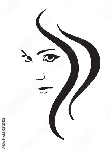 Fototapeta Young woman vector face, fashion symbol