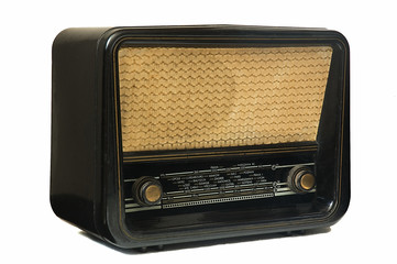 Ivory and black vintage radio isolated on a withe background