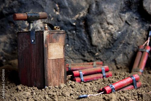 Fotografia  Detonator and dynamite on mine