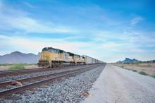 Cargo Loco Train Rolling Through Arizona Desert