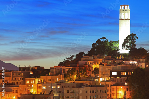 Keuken foto achterwand San Francisco High Resolution Image of Coit Tower at Night in San Francisco