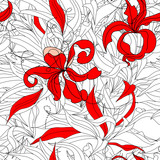 Floral seamless wallpaper with red flowers