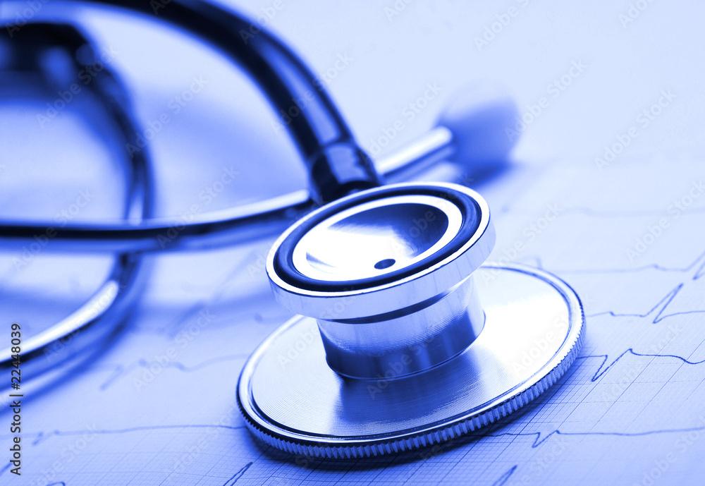 Fototapeta Stetoskop i ekg