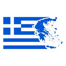 Fahne Griechenland Mit Landkarte
