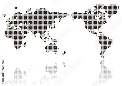 Poster Wereldkaart ドットの世界地図