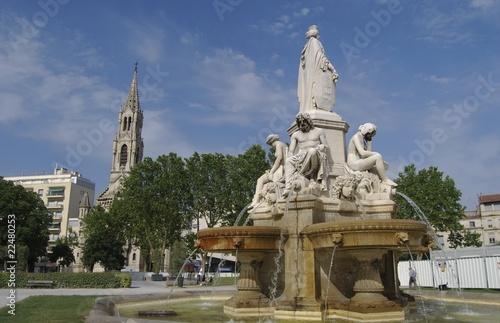Fotobehang Fontaine Fontaine Pradier : Nîmes