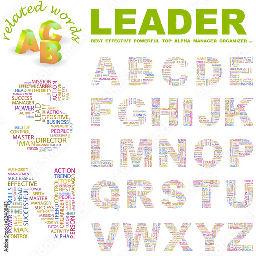 Photo  LEADER. Wordcloud alphabet with different association terms.