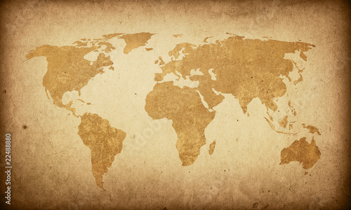 Foto op Aluminium Wereldkaart world map vintage artwork
