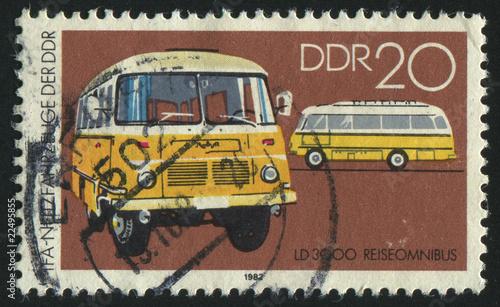 Foto auf AluDibond Weinlese-Plakat postmark