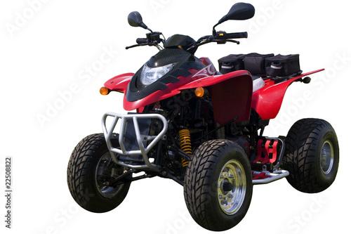 Red quad bike (ATV) isolated on white