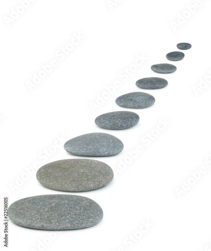 Pinturas sobre lienzo  Row pebbles. Sea stones. It is isolated on a white background