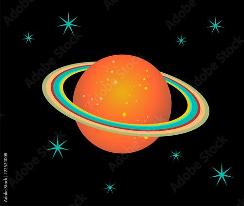 Garden Poster Cosmos Saturn Planet illustration