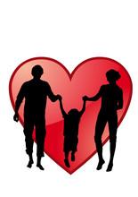 Sagoma Famiglia Con Cuore Rosso