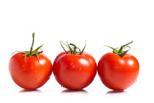 Three Vine Ripened Truss Tomatoes, Isolated On White