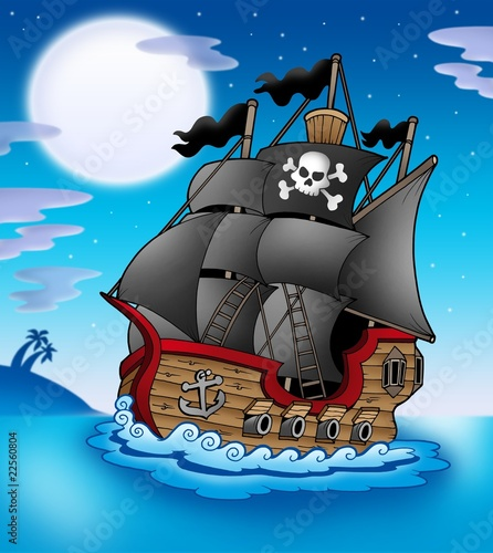 Poster de jardin Pirates Pirate vessel at night
