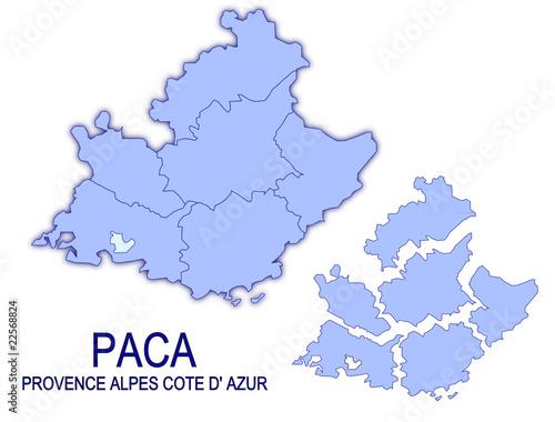 Cuadros en Lienzo carte région paca provence alpes cote d'azur France départements