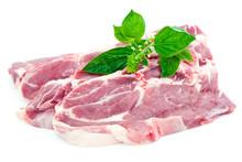 Côtes échines De Porc Fraîches Et Branche De Basilic