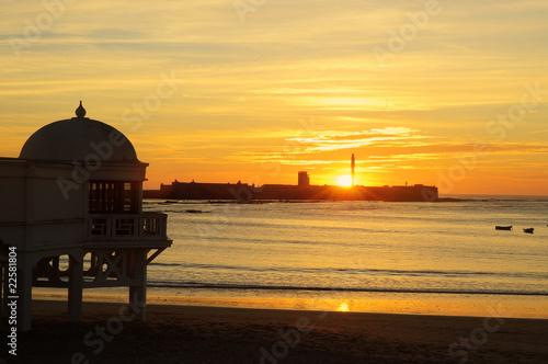 puesta de sol en La Caleta CADIZ