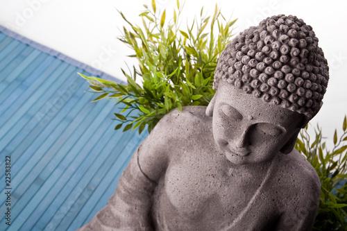 Foto op Plexiglas Boeddha Buddha mit Bambus