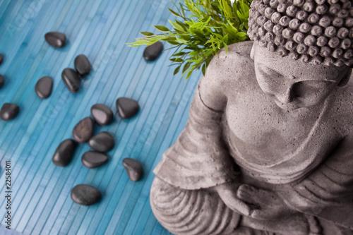 Tuinposter Boeddha Buddha mit Bambus, Massage Steinen und Schale mit Blüten
