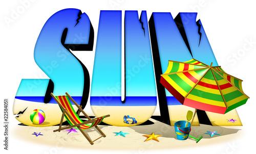Sun-Sole Mare e Spiaggia-Testo 3d