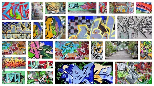 Stickers pour porte Graffiti collage collage...graffiti