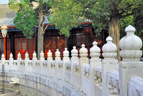 Valokuva  China, Beijing ancient Confucian temple marble handrail.