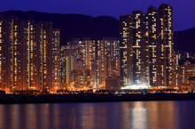 Apartment Block At Night In Hong Kong