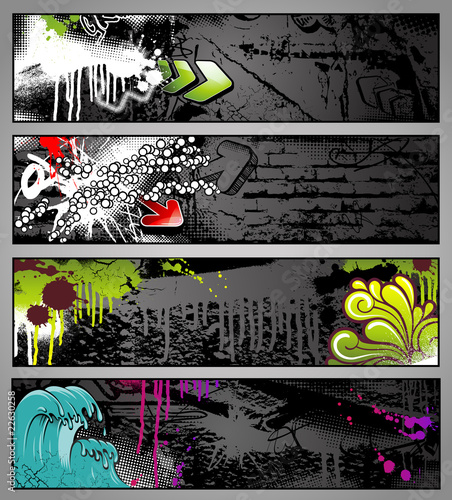 Foto op Canvas Graffiti set of four graffiti style grungy urban banners